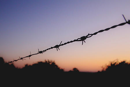 silhouette of black barb wire