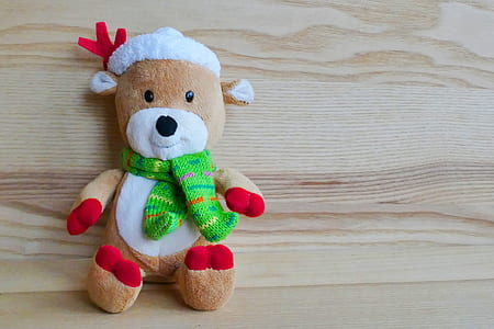 brown and white bear plush toy on top of brown wooden surface