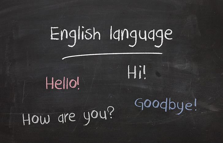 English language Hello! Hi! text