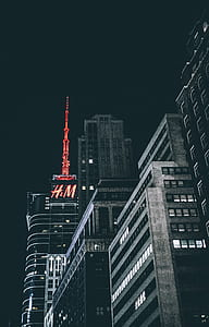 selective color photography of red H & M building