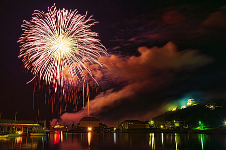 Fireworks display in Hirado, Japan