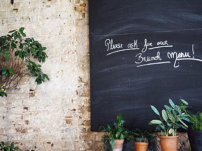 black chalkboard beside green plants
