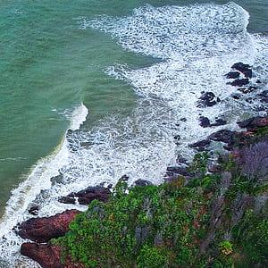 Aerial Photography of Seashore Beside Islet