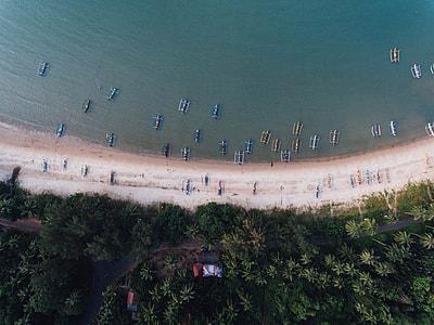 top view photo of boats at sea shore