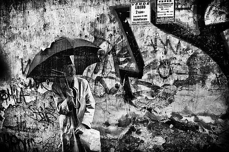 Monochrome image of some street art found in Napoli in Italy