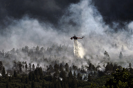 helicopter burning above trees