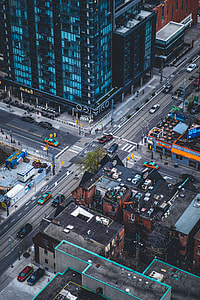 aerial photography of cars and high rise building