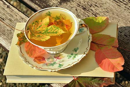 white ceramic teacup set full of tea