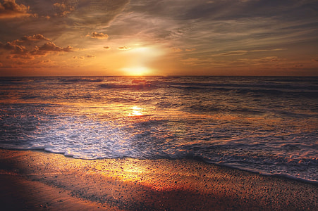 sunset scenery on body of water