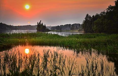 Green Grass Across the Lake