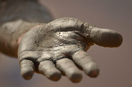 left human palm covered with soil