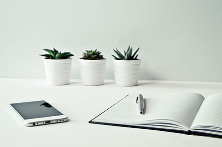 white Android smartphone beside the notebook