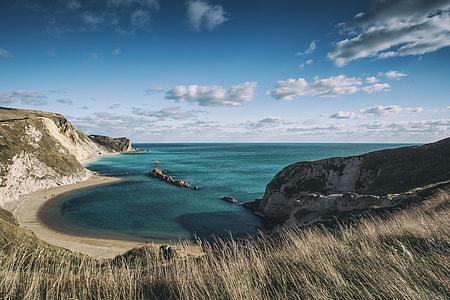 Wide angle landscape shot taken of the Jurassic Coast in Dorset, England