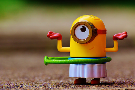 shallow focus of Minion plastic toy