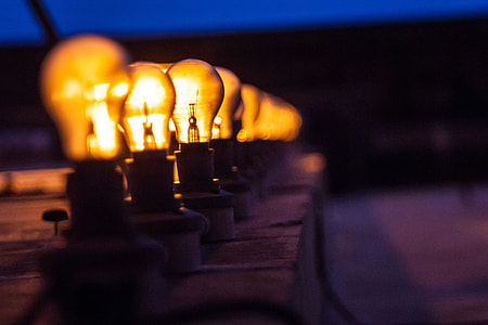 A line of light bulbs