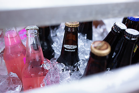 Americana bottle on ice cube box