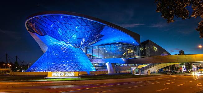 blue glass sphere building