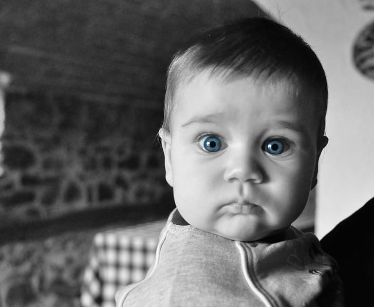 baby with selective color eye