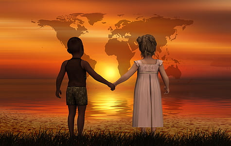 girl and boy holding each others hands while watching sunset