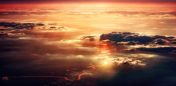 aerial photo of cloud at sunset