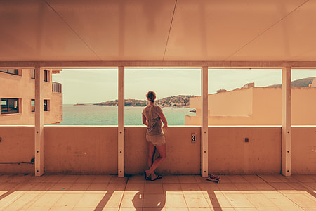 Man enjoying the view on the coast of Spain