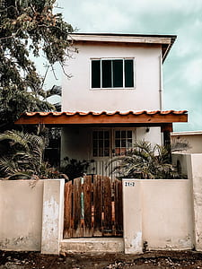 white 2-storey house beside tree