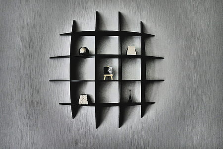 black floating cubby shelf