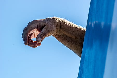 photo of human hand under blue sky