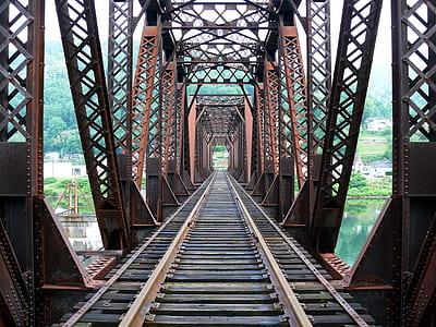 brown steel railway