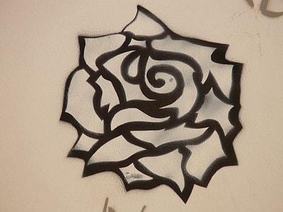 black rose drawing close up photo
