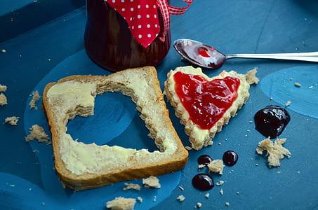 red jam in heart bread