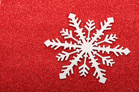 photo of gray and red snowflake illustration