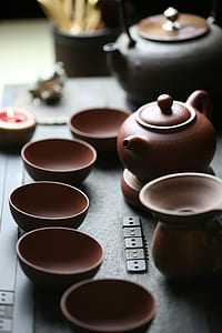 brown tea set photography
