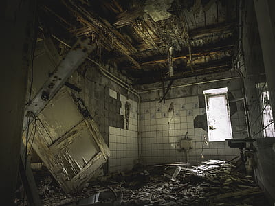 photo of wrecked bathroom