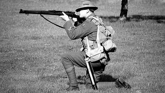 Man in Military Suit Aiming Rifle