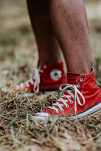 Man in a red sneaker shoes
