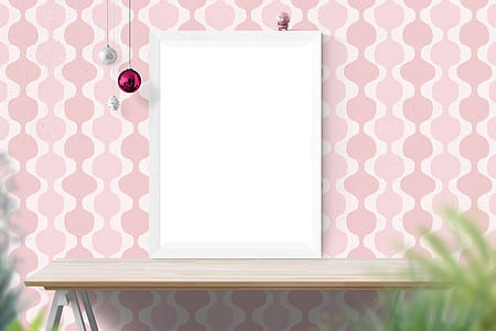 white photo frame on wooden end table