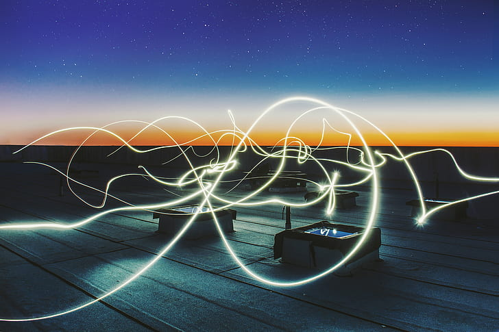 white string lights photography