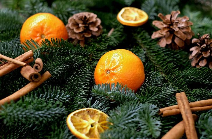 orange fruit and pinecone