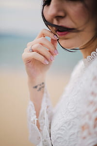 woman wearing flower lace dress