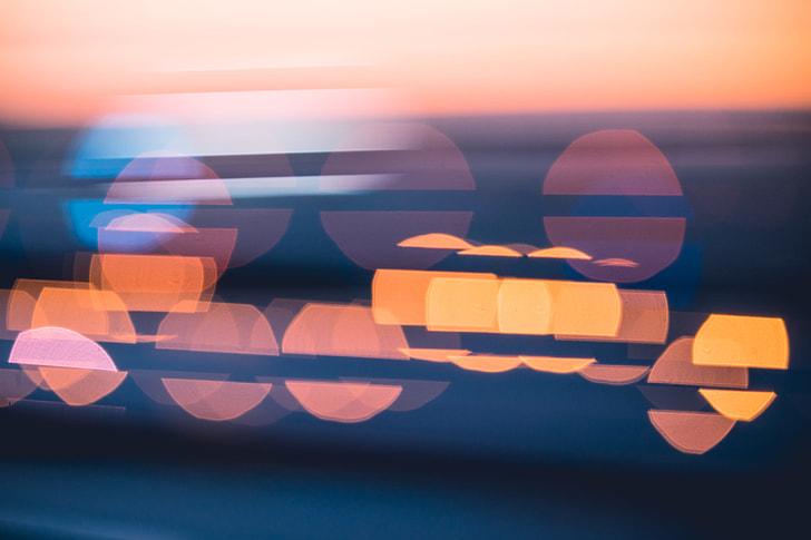 Evening Sunset Abstract Blue City Lights Bokeh