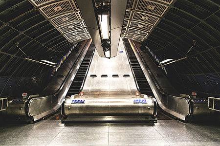 Wide-angle shot of an escalator on the London Underground