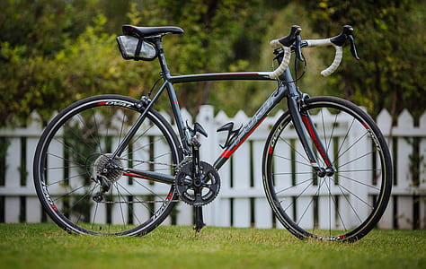 black and gray road bicycle