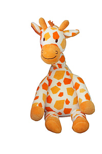 white, orange, and red giraffe plush toy