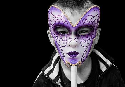 boy in purple mask