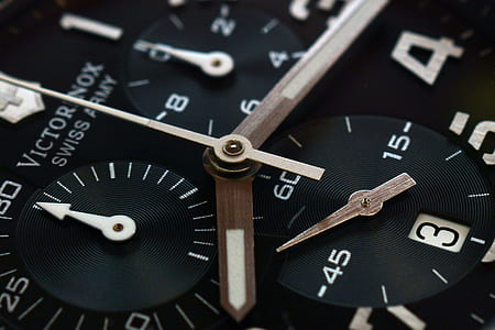 black Victorinox analog chronograph watch