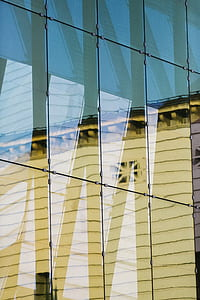 glass, window, reflection, abstract, shapes, pattern