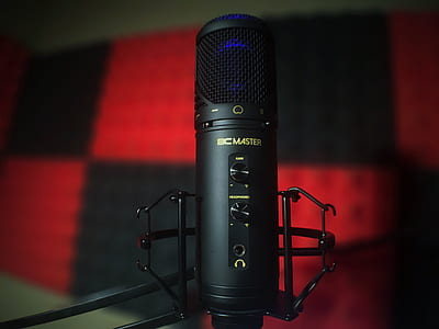 black and blue DC Master studio microphone