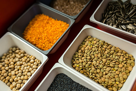 Containers with legume foods and seeds