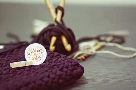 Thank you on purple knitted